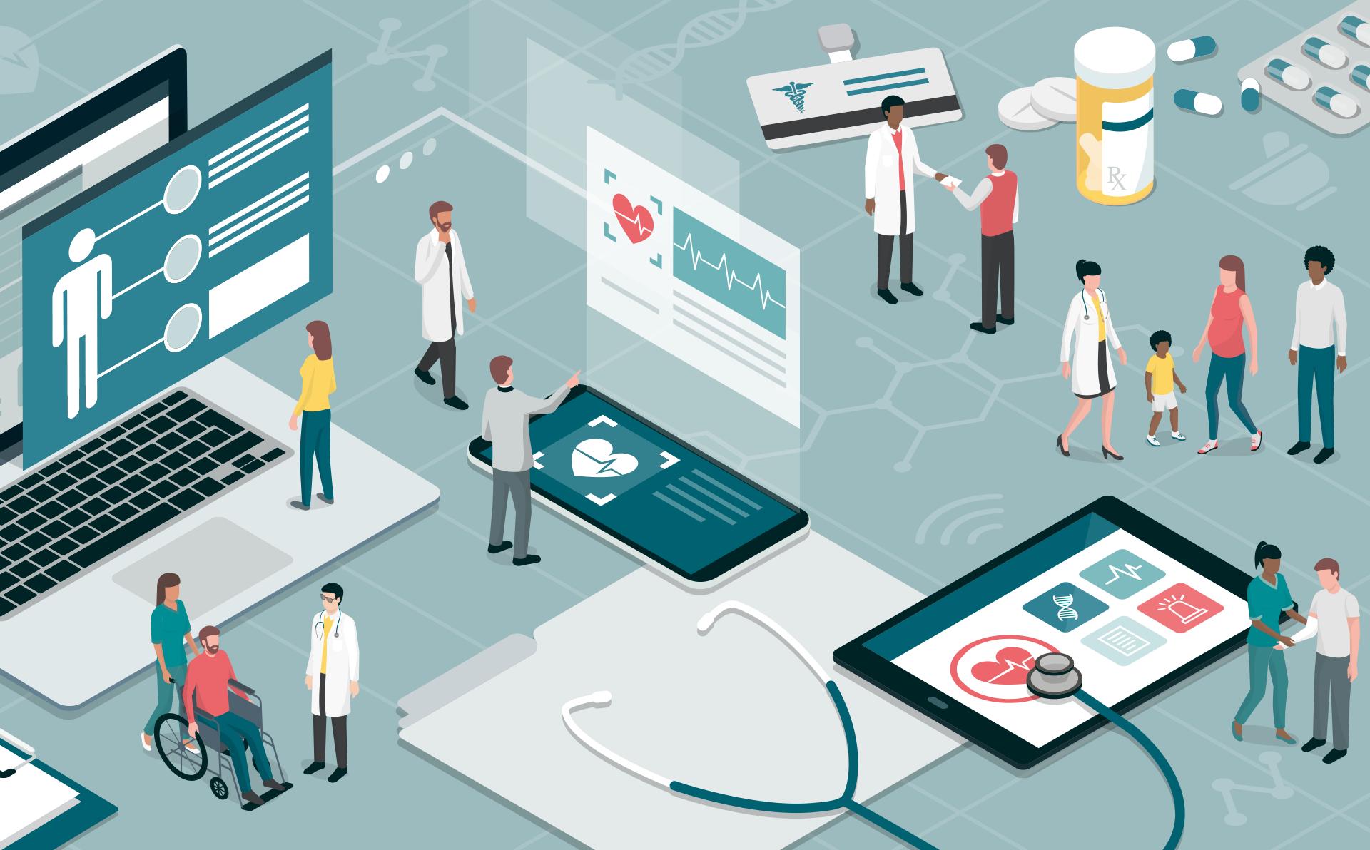 Grafik mit Darstellungen aus dem medizinischen Bereich